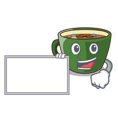 With board indian masala tea in cartoon glas vector