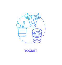 Yogurt blue gradient concept icon vector