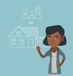Young african-american woman drawing family house vector