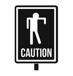 Zombie road sign icon simple style vector