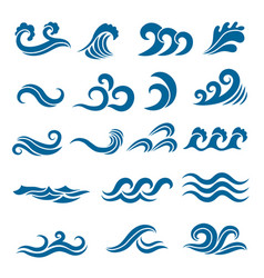 big set of stylized ocean waves colored vector image