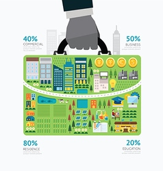 Infographic businessman hand hold business bag vector image