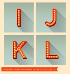 Vintage light bulb sign letters i j k l vector image