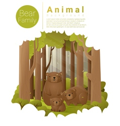 Forest landscape background with bears vector image