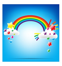 Rainbow and colorful star vector image