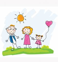 doodle happy family vector image vector image