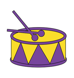 drum and sticks music instrument percussion vector image