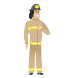 Firefighter giving thumb up vector