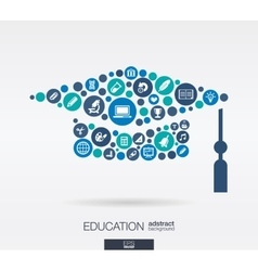 flat icons in a graduation hat shape education vector image vector image