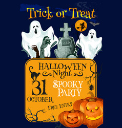 halloween holiday trick treat horror party poster vector image vector image