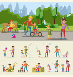 happy fatherhood concept vector image