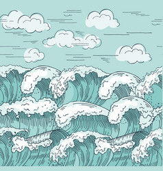 ocean waves seamless pattern hand drawn vector image