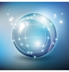 Abstract glass sphere network with vector image vector image
