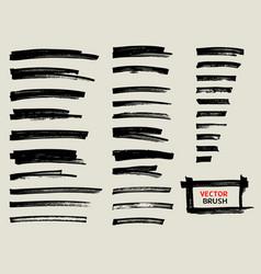 Black marker brush stroke set vector