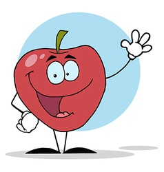 Cartoon Apple Waving A Greeting vector image vector image