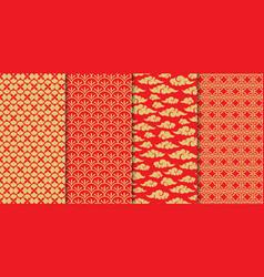 chinese pattern set decorative background vector image
