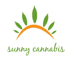 concept icon cannabis with sun vector image