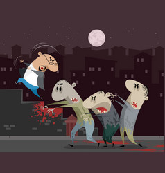 man running away from zombie vector image