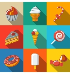 Modern flat sweet icons set with - cupcake donut vector image vector image