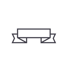 ribbon corners up line icon sign vector image vector image
