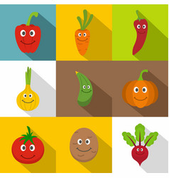smiling vegetables icons set flat style vector image