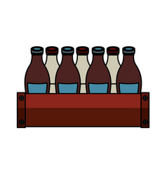 soda bottles in basket isolated icon vector image vector image
