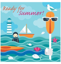 Summer Sea Diver Hand with Kayak Paddle vector image