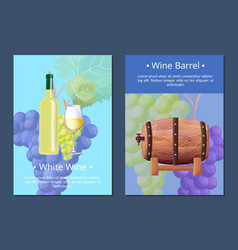 white wine and barrel posters vector image vector image