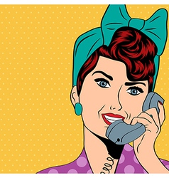 woman chatting on the phone pop art vector image