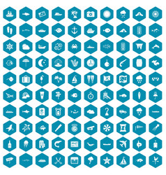 100 marine environment icons sapphirine violet vector