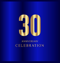 30 year anniversary celebration gold blue vector