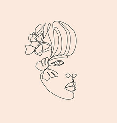 abstract face with flowers one line drawing vector image