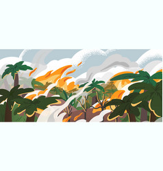 Amazonian forest fire panorama flat vector