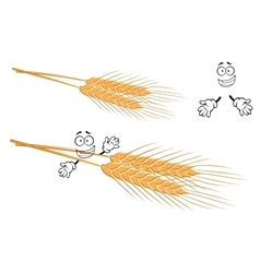 Awned ears of wheat cartoon character vector