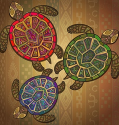 Background pattern with three turtles vector image