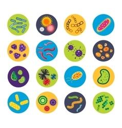 Bacteria virus icons set vector image