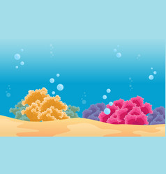 Beauty landscape underwater with coral reef vector