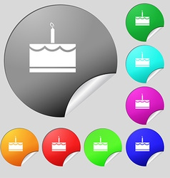 Birthday cake icon sign set of eight multi colored vector