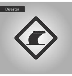 black and white style icon tsunami sign vector image