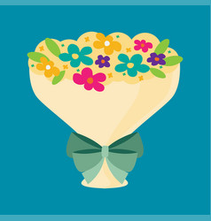 bouquet of flower tied with ribbon bow flat vector image