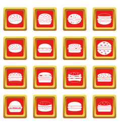 Burger icons set red vector