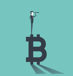 businessman find the opportunity on the bitcoin vector image