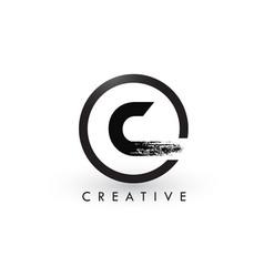 C brush letter logo design creative brushed vector