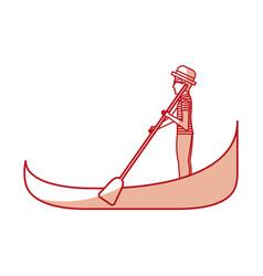Carton gondolier rowing a gondola vector