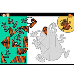 Cartoon shield bug jigsaw puzzle game vector