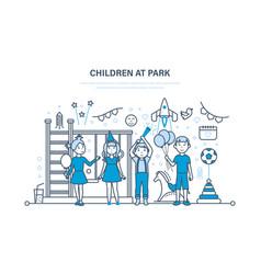 Children s at park kids outdoor in park vector