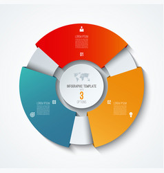 circle infographic template with 3 options vector image