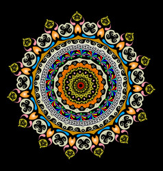 colorful round greek mandala pattern ornamental vector image