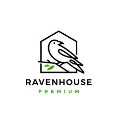 crow raven bird leaf line logo icon vector image