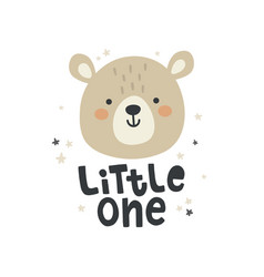 cute bear head and hand lettering text vector image